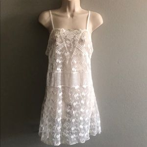 LF White Sheer Lace Embroidered Slip Dress